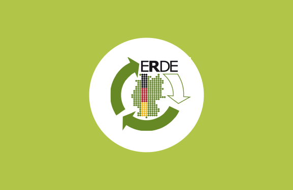 Crop Plastics Recycling Germany (ERDE) Logo against a light green background